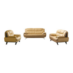 ESF - ESF 405 Beige Top Grain Italian Leather 3 Piece Sofa Set - The ESF 405 sofa set is a great addition for any living room that needs a touch of modern design. This sofa set comes upholstered in a beautiful beige top grain Italian leather. High density foam is placed within the cushions for added comfort. Each piece features brown stitching and accents that add to the overall look of the set. Only solid wood products were used when crafting the frame making the sofa set a very durable set.