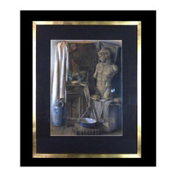 "Pre-owned Charcoal & Pastel Still Life - A well executed charcoal and pastel still life in black mat and hand gold leafed frame. This piece is signed ""Toon Wisters ""1947"". Perfect for a gallery wall or office setting."