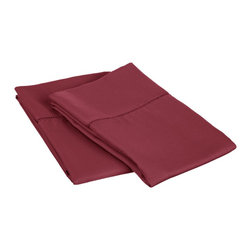 600 Thread Count Standard Pillowcase Set (Fagotting) Cotton Rich - Wine - Surround yourself in the classic elegance of Impressions Hem Stitch pillowcase set. This design features hem stitching which is a classic method used to put two pieces of fabric together using a an insertion stitch to give off the appearance of lace.