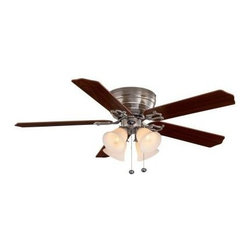 Hampton Bay - Indoor Ceiling Fans: Hampton Bay Carriage House 52 in. Indoor Brushed Nickel Cei - Shop for Lighting & Fans at The Home Depot. With its handsome brushed-nickel finish, 4-light kit with white linen glass and 5 carved, reversible rosewood/bleached cherry blades, the Hampton Bay Carriage House 52 in. Ceiling Fan adds traditional style to any room decor. The 153 mm x 18 mm Power Plus motor provides up to 4,935 CFM airflow for optimal air movement, and the triple capacitor offers quiet fan operation.