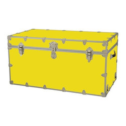 Rhino - Toy Trunk - Yellow (Extra Extra Large) - Choose Size: Extra Extra LargeWheels are not included. Includes two nickel plated steel universal wheel adapter plates. Wheel adapter plates mounted on side of the trunk. American craftsmanship. Several obscure ventilation holes to provide plenty of air should your child ever go into the trunk and have someone close it on them. Strong hand-crafted construction using both old world trunk making skills and advanced aviation rivet technology. Steel aircraft rivets are used to ensure durability. Heavy duty proprietary nickel plated steel latches and hardware. Heavy duty nickel plated steel lid hinges plus lid stays for keeping lid propped open. Tight fitting steel tongue and groove lid to base closure to keep out moisture, dirt, insects, odors etc.. Stylish lockable nickel plated steel trunk lock has loop for attaching padlock. Discrete ventilation holes. Special soft-close lid stay. Nylon cordura exterior laminate. Lifetime warranty. Made from 0.38 in. premium grade baltic birch hardwood plywood with nickel-plated steel hardware. Large: 32 in. W x 18 in. D x 14 in. H (29 lbs.). Extra large: 36 in. W x 18 in. D x 18 in. H (36 lbs.). Jumbo: 40 in. W x 22 in. D x 20 in. H (67 lbs.). Super jumbo: 44 in. W x 24 in. D x 22 in. H (69 lbs.)Safety First! A superior quality, heavy-duty toy trunk that¢s designed for a child¢s well-being, yet looks handsome in any room. Toy Trunk is constructed from the highest quality components. This treasure chest incorporates several safety features to insure that it¢s child friendly. Those include small ventilation holes should a child ever decide to climb in and take a nap, as well as specially designed, American made soft-close lid stays. The lid stays keep the lid from slamming shut. In fact, the lid will only close if you push it down. This will keep small hands protected. Also, the toy trunk will not lock on its own. Toy Trunk are conveniently sized and ruggedly built. They¢re strong enough to stand on! Best of all, these advanced design wheels do not add any extra height to the trunk. Even with the wheels on, the trunk is stackable.