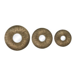 Sterling Industries - Sterling Industries 138-041/S3 Warrington Mirrors in Gold Leaf And Textured Gold - Warrington-Set Of 3 Mini Mirrors In Hammred Metal Frame