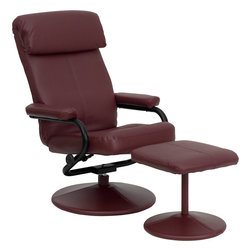 Flash Furniture - Flash Furniture Contemporary Burgundy Leather Recliner & Ottoman w/ Leather Wrap - Recline in your favorite position with this comfortable recliner and ottoman set. This set features a built-in pillowtop headrest, thickly padded arms and leather wrapped bases. This set is not only perfect in the home, but makes for a great addition in the office when you need to relax for a bit. The durable leather upholstery allows for easy cleaning and regular care. [BT-7863-BURG-GG]