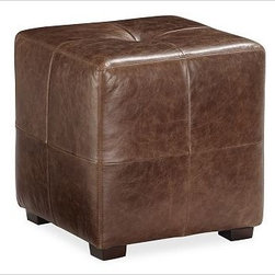 "Sullivan Leather Cube, Saddle Brown - Combining the compact proportions of a cube with the furniture-grade quality of an ottoman, this occasional seat also functions as a footrest and bedside table.16"" wide x 16"" deep x 17"" highThe espresso color showcases the leather's natural look using aniline-dyed top-grain leather. Cushion is made of resilient 8-inch-thick, high-density foam core.Select items are Catalog / Internet Only View our {{link path='pages/popups/fb-media.html' class='popup' width='480' height='300'}}Furniture Brochure{{/link}}."