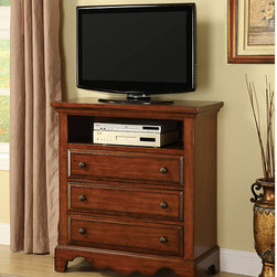 Furniture of America - Furniture of America Coast Cherry Oak Finish Media Chest/ Cabinet - Material: Solid wood,wood veneerWood finish: Cherry oakMedia chest features a wave-front silhouette that is perfectly scaled to support a television