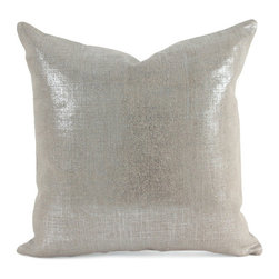 """Pfeifer Studio - Metallic Linen Pillow, 9"""" X 18"""" - This glamorous pillow is created by transferring a thin layer of metallic foil onto linen, a technique similar to silver leafing. Each pillow has a matching metallic linen back, closes with a hidden garment zipper and is fitted with a medium-fill feather and down inner. Our pillows are each individually handmade-to-order using natural materials, each is considered unique and one-of-a-kind."""