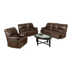 "Acme - 2-Piece Daishiro Collection Chestnut Bonded Leather Match Upholstered Sofa Set - 2-Piece Daishiro collection chestnut bonded leather match upholstered sofa and love seat set with recliner ends. This set includes the sofa and love seat with recliners on both ends. Sofa measures 84"" x 39"" x 39"" H. Love seat measures 62"" x 39"" x 39"" H. Chair also available separately at additional cost. Love seat available with center console also at additional cost. Some assembly may be required."