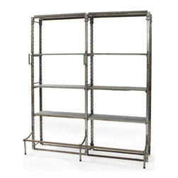 Go Home - Go Home Double Warehouse Shelving - The double warehouse shelving makes for proper storage of many articles of home or warehouses. Conveniently designed with steel and slate, this furniture piece contains ten shelves and can thus store many items with ease. This piece of furniture is ideal for warehouses and factories and is highly durable and long lasting. The vintage industrial finish makes it more useful than the wooden shelves.