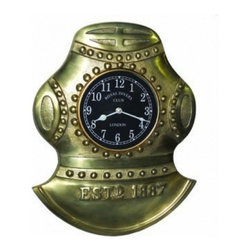 """Handcrafted Model Ships - Antique Solid Brass Divers Helmet Clock 17"""" - Nautical Themed Bedroom - The Antique Solid Brass Divers Helmet Clock 17"""" is great for nautical desktop decor or sits well on a mantle. The diver's helmet has a beautiful antique finish. The diver helmet is a brass masterpiece and will withstand the test of time. The Brass Divers Helmet Clock also has a fully functional clock which is easily visible and will make quite an initial impression on your visitors."""
