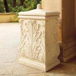 Frontgate - Chelsea Waste Bin - Crushed stone, resin, and fiberglass composite. Elegant and extremely durable. Easy-lift lid. Drain holes. Removable 13-gallon insert. Sculpted with classic acanthus leaves and scrolls, our Chelsea Waste Bin complements your estate setting beautifully. The weather-enduring bin includes a removable 13-gallon plastic insert.  sheds rainwater.  .  .  .  .  .