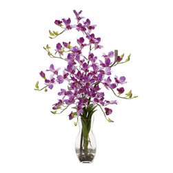 Nearly Natural - Nearly Natural Dendrobium with Vase Silk Flower Arrangement in Purple - There are 1,200 species of Dendrobium Orchids in existence, but There's only one floral arrangement like this one! Standing at 35 inches; tall in a vase that compliments any setting, these cool and colorful flowers can provide exactly the type of setting that you are hoping for, whether It's just a splash of color to a room, or that Perfect accent to a romantic dinner. Complete with faux water, these beauties will stay fresh forever!
