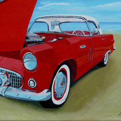 T-Bird - Add vibrant color and texture to your home with a nostalgic painting by Anthony Dunphy. The classic 1957 T-Bird is a throwback to a bygone age and will surely have your friends and family talking about those simpler times. Hang this in an office or living room for a big visual impact.