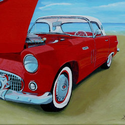 T-Bird Artwork - Add vibrant color and texture to your home with a nostalgic painting by Anthony Dunphy. The classic 1957 T-Bird is a throwback to a bygone age and will surely have your friends and family talking about those simpler times. Hang this in an office or living room for a big visual impact.