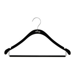 Clos-ette Too - Clos-ette Too Slim Shirt Hanger With Bar -Black, Set of 20 - We call our Clos-ette Too Slimline Hangers, 'the skinny hangers'. Related to the shirt hanger, these hangers feature a trouser bar to easily hang slacks and skirts. Flocked with velvety non-slip material to prevent slipping and featuring a shorter drop than the average hanger, our signature Clos-ette Too slim hangers are the most efficient way of gaining horizontal and vertical space in your closet and keeping garments in place.