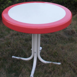 4D Concepts - Metal Retro Round Table in Red and White - Beautifully crafted retro table. Perfect for any room of the house. Can be moved wherever you need an additional table. Rich powder coated white and red trim give it a distinct look. Tapered legs flair out at the bottom to give the table a unique and durable look. Clean with a dry non abrasive cloth. Metal table top is trimmed in a vibrant shade of vintage Red. Constructed of metal. Assembly required. 22 in. W x 22 in. D x 19.5 in. H (11 lbs.)