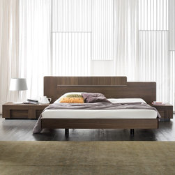 Rossetto - Air Platform Bed | Rossetto - Made in Italy by Rossetto.Offset headboard and unconventional design define the Rossetto Air Platform Bed. The warmth of oak wood veneer blends seamlessly with the clean, geometrical lines. The headboard extends beyond the width of the bed, creating an empowering backdrop for your bedroom.Note: The Air Nightstands pictured are sold separately.Designed for a mattress only.