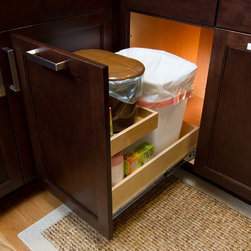 Custom Roll Out Trash Bin with Riser Shelf - Add a riser shelf to your roll out trash bin for extra storage.  This client uses the riser shelf to store his composter.  Don't compost?  Store a pet food container, extra garbage bags, etc...