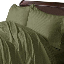 SCALA - 600TC 100% Egyptian Cotton Stripe Moss Queen  Size Sheet Set - Redefine your everyday elegance with these luxuriously super soft Sheet Set . This is 100% Egyptian Cotton Superior quality Sheet Set that are truly worthy of a classy and elegant look.Queen  Size Sheet Set includes: 1 Fitted Sheet 60 Inch(length) X 80 Inch(width) (Top surface measurement).1 Flat Sheet 90 Inch(length) X 102 Inch (width).2 Pillowcase 20 Inch (length) X 30 Inch (width).
