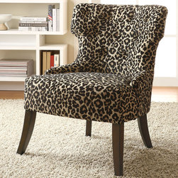 Coaster - 902066 Accent Chair - Feel the support and comfort of this leopard print accent chair with tufted back and flared legs.