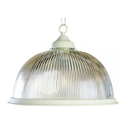 Joshua Marshal - One Light Polished Brass Clear Ribbed Halophane Glass Down Pendant - One Light Polished Brass Clear Ribbed Halophane Glass Down Pendant