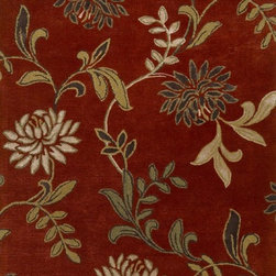 Kas - Country & Floral Florence 8'x10' Rectangle Red Area Rug - The Florence area rug Collection offers an affordable assortment of Country & Floral stylings. Florence features a blend of natural Green color. Hand Tufted of Wool & Viscose Textured Pile the Florence Collection is an intriguing compliment to any decor.