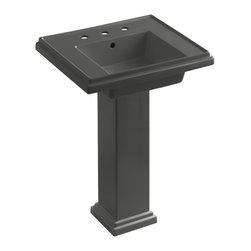 """KOHLER - KOHLER K-2844-8-58 Tresham 24"""" Pedestal Lavatory - KOHLER K-2844-8-58 Tresham 24"""" pedestal lavatory with 8"""" widespread faucet drilling in Thunder Grey"""