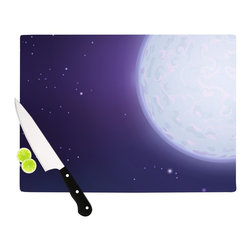 """Kess InHouse - Fotios Pavlopoulos """"Full Moon"""" Night Sky Cutting Board (11.5"""" x 15.75"""") - These sturdy tempered glass cutting boards will make everything you chop look like a Dutch painting. Perfect the art of cooking with your KESS InHouse unique art cutting board. Go for patterns or painted, either way this non-skid, dishwasher safe cutting board is perfect for preparing any artistic dinner or serving. Cut, chop, serve or frame, all of these unique cutting boards are gorgeous."""