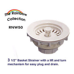 Whitehaus Collection - Biscuit Whitehaus RNW50 3 1/2'' Kitchen Fireclay Sink Plastic Basket Strainer - Purchase a Whitehaus Collection basket strainer for your new sink and enjoy both quality and convenience with this ergonomically designed kitchen sink strainer.