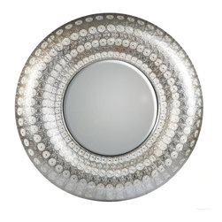 "Concepts Life - Concepts Life Mirror  Luminous Lace Collection  Silver, Round - Searching for a mirror with a modern look, but a vintage feel? Search no more. Our round silver Luminous Lace Mirror will instantly infuse elegance into your room and dress-up any home. With its intricate detailing and delicate perforated patterns, this is the classic statement piece you've been waiting for. Full of volume and brilliance, and complete with a wall hanging hook, this piece is no subtle addition to a space.  Dimensions: 30"" round and 2.5"" deep Weight: 6.5 lbs Iron and mirrored glass Hand welded and hand painting in silver D hooks attached for hanging Imported"