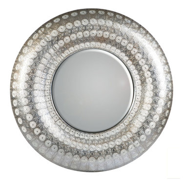 """Concepts Life - Concepts Life Mirror  Luminous Lace Collection  Silver, Round - Searching for a mirror with a modern look, but a vintage feel? Search no more. Our round silver Luminous Lace Mirror will instantly infuse elegance into your room and dress-up any home. With its intricate detailing and delicate perforated patterns, this is the classic statement piece you've been waiting for. Full of volume and brilliance, and complete with a wall hanging hook, this piece is no subtle addition to a space.  Dimensions: 30"""" round and 2.5"""" deep Weight: 6.5 lbs Iron and mirrored glass Hand welded and hand painting in silver D hooks attached for hanging Imported"""
