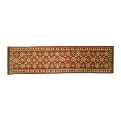 Manhattan Rugs - New Mesa Collection Medallion Kazak Runner 2x10 Hand Knotted Red Wool Rug H3690 - Kazak (Kazakh, Kasak, Gazakh, Qazax). The most used spelling today is Qazax but rug people use Kazak so I generally do as well.The areas known as Kazakstan, Chechenya and Shirvan respectively are situated north of Iran and Afghanistan and to the east of the Caspian sea and are all new Soviet republics. These rugs are woven by settled Armenians as well as nomadic Kurds, Georgians, Azerbaijanis and Lurs.  Many of the people of Turkoman origin fled to Pakistan when the Russians invaded Afghanistan and most of the rugs are woven close to Peshawar on the Afghan-Pakistan border.  There are many design influences and consequently a large variety of motifs of various medallions, diamonds, latch-hooked zig-zags and other geometric shapes. However, it is the wonderful colors used with rich reds, blues, yellows and greens which make them stand out from other rugs. The ability of the Caucasian weaver to use dramatic colors and patterns is unequalled in the rug weaving world. Very hard-wearing rugs as well as being very collectable.