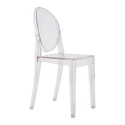 Fine Mod Imports - Clear Side Chair Clear - In spite of the evanescent and crystalline impression, strong resistant to blows, scratch-proof and weatherproof; as many as six pieces can be piled up. With a strongly charismatic charter and outstanding aesthetic appeal, this chair fits perfectly into every home or public area with elegance and irony.