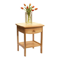 Winsome Wood - Curved Night Stand in Beechwood - The Curved Night Stand in Beechwood stands 22 inches tall and provides convenient bedside storage in a generously sized drawer and wide lower shelf. The nightstand is finished in warm, natural Beechwood and displays a pleasing polished appearance with curved edges. * Storage drawer and lower shelf for storage. Polished appearance. Curved Edges. H x W x D: 22 in. x 18 in. x 18 in.