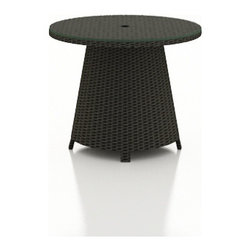 Forever Patio - Barbados Round High Patio Coffee Table, Ebony Wicker - The Forever Patio Barbados Wicker Outdoor Round High Coffee Table (SKU FP-BAR-RHCT-EB) is the perfect addition to your curved outdoor seating. The UV-protected, ebony-colored resin wicker sports a flat woven design, creating a contemporary look with clean lines. Each strand of this outdoor wicker is made from High-Density Polyethylene (HDPE) and is infused with its rich color and UV-inhibitors that prevent cracking, chipping and fading ordinarily caused by sunlight. This wicker patio Coffee table is supported by thick-gauged, powder-coated aluminum frames that make it more durable than natural rattan. The table conveniently includes an umbrella hole so you can enjoy the shade of your choice while dining (umbrella not included). A tempered glass table top is included with this table, adding an extra touch of modern style to your wicker outdoor dining table.