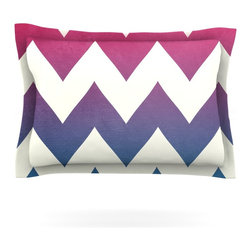 "Kess InHouse - Catherine McDonald ""Fade to Blue"" Chevron Pillow Sham (Woven, 40"" x 20"") - Pairing your already chic duvet cover with playful pillow shams is the perfect way to tie your bedroom together. There are endless possibilities to feed your artistic palette with these imaginative pillow shams. It will looks so elegant you won't want ruin the masterpiece you have created when you go to bed. Not only are these pillow shams nice to look at they are also made from a high quality cotton blend. They are so soft that they will elevate your sleep up to level that is beyond Cloud 9. We always print our goods with the highest quality printing process in order to maintain the integrity of the art that you are adeptly displaying. This means that you won't have to worry about your art fading or your sham loosing it's freshness."