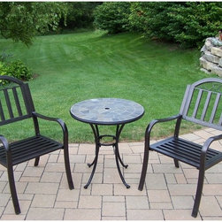 Oakland Living Corp - Oakland Living Stone Art Rochester Patio Bistro Set Multicolor - 77103-3830-3-CF - Shop for Tables and Chairs Sets from Hayneedle.com! Boasting a contemporary design with clean lines and upscale charm the Oakland Living Stone Art Rochester Patio Bistro Set makes a great addition to your balcony or patio. You'll love how generously proportioned the chairs are as much as the beautiful natural stone tabletop supported on a tubular iron frame. Crafted from sturdy yet lightweight aluminum chairs sport slat seats with slat- and scroll-accented backrests for an uber stylish look. The hardened powder-coat Coffee finish stays like new season after season. Add the optional weather-resistant quick-dry seat cushion to pump your comfort level up a few more notches.Dimensions:Bistro table: 28 diam. x 26H inchesBistro chair: 21.5L x 23W x 34H inches
