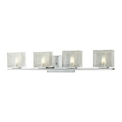 Z-Lite - Z-Lite 3025-4V Jaol 4 Light ADA Compliant Bathroom Vanity Light - Rectangular glass shades with horizontal textured lines soften the bright light of the Jaol vanity family. The flat arm design exudes a contemporary design finished in finely brushed nickel, rich bronze and highly polished chrome.Specifications: