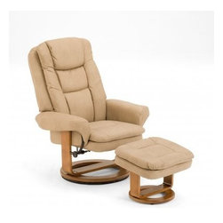 """Mac Motion - Mac Motion Stone Nubuck Bonded Leather Swivel Recliner with Ottoman - Mac Motion Stone Nubuck Bonded Leather Swivel Recliner with Ottoman Plush is the word for this unique Euro Design motion chair and matching ottoman. Features for this comfortable chair include 360 degree swivel with multiple reclining position adjustment. Matched with angled ottoman for lower leg support and to complete therapy seating. Complimented by bonded leather material in a """"Sand"""" color with a warm """"Walnut"""" wood frame finish.  Recliner (1), Ottoman (1)"""