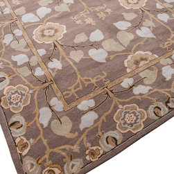Jaipur - Poeme Rodez Grey Rug, 8'x11' - Add softness and style underfoot with this beautiful wool rug. Traditional design combines with modern, livable colors — warm grays, tans and browns — to coordinate effortlessly with your furnishings and style. Its plush pile feels hand-knotted at a hand-tufted price, so you can find the right size and finishing touch for just about any room in your house.