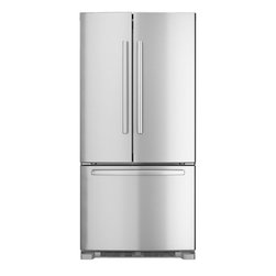 None - Bosch French Door Stainless Steel Refrigerator - This sleek and stylish refrigerator will add a strong sense of form and function to practically any kitchen. A large amount of space in both the fridge and freezer areas ensure that you will always have enough space for your food.