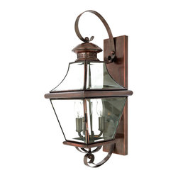 Cambridge - Carleton 3-light Copper Finish Medium Wall Lantern - The historical design of the Carleton outdoor fixture will bring a handsome colonial appeal to your home. The antique style solid copper,square tapered frame with a curved top eloquently displays the clear beveled glass.
