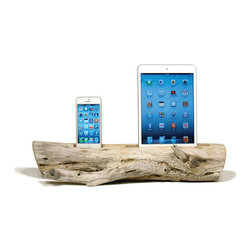 Docksmith - Driftwood Dock for an iPhone and iPad, Ipad 2/3 + Iphone 5/6/6+ - Charge your tablet and smart phone on a piece of driftwood. Each piece is of natures design using the wind, sea and sand as it's tools. Our beach driftwood is collected on the coast of Maine and then crafted by us for you. For this listing, no two docks will be the same. Variation is to be expected.