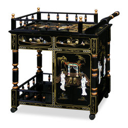China Furniture and Arts - Black Lacquer Pearl Motif Tea Cart - With all the elegance of proper tea serving, or use as a working bar, this attractive teacart adds style to the ambience of home entertaining. It is decorated with mother of pearl and hand-painted with gold finish courtyard design through out the front, back and the sides. Drawers and cabinet keep snacks or bartending accoutrements within reach. Casters included for your serving convenience. (Assembled.)