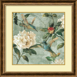 Amanti Art - Renee Campbell 'Birds of a Feather I' Framed Art Print 29 x 29-inch - Bring light and grace into your space with this charming floral hummingbird study, Birds of a Feather I by Renee Campbell.