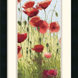 Amanti Art - Mountain Poppies I Framed Print by Shirley Novak - This framed art print features a delightful Spring scene of Mountain Poppies, captured by the brush of Shirley Novak.