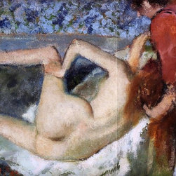 "Edgar Degas The Bath (Woman from Behind)   Print - 18"" x 24"" Edgar Degas The Bath (also known as Woman from Behind) premium archival print reproduced to meet museum quality standards. Our museum quality archival prints are produced using high-precision print technology for a more accurate reproduction printed on high quality, heavyweight matte presentation paper with fade-resistant, archival inks. Our progressive business model allows us to offer works of art to you at the best wholesale pricing, significantly less than art gallery prices, affordable to all. This line of artwork is produced with extra white border space (if you choose to have it framed, for your framer to work with to frame properly or utilize a larger mat and/or frame).  We present a comprehensive collection of exceptional art reproductions byEdgar Degas."