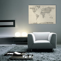 Old Sheet Music Art World Map Canvas - A map of the world made from a collage of old and vintage sheet music, including some handwritten scores and notes, on an antique style background. Shown on a wood block canvas. www.maps-international.com