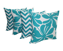 Land of Pillows - Twirly and Zig Zag Chevron True Turquoise Decorative Throw Pillows - Set of 4, 2 - Fabric Designer - Premier Prints