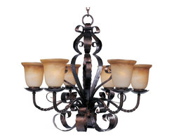 Joshua Marshal - Six Light Oil Rubbed Bronze Vintage Amber Glass Up Chandelier - Six Light Oil Rubbed Bronze Vintage Amber Glass Up Chandelier