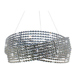 Lightupmyhome - Modern Contemporary 3-Ring Drum Crystal Chandelier Pendant - This gorgeous round chandelier sparkles endlessly.  The light sparkles like diamonds through the clear crystals and spiraling frame.  The chandelier hangs perfectly to provide ambiance to any dinner party